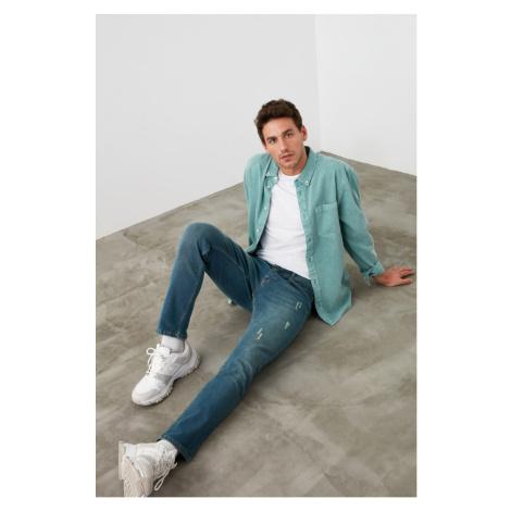 Trendyol Indigo Men Skinny Rake Destroyed Jeans