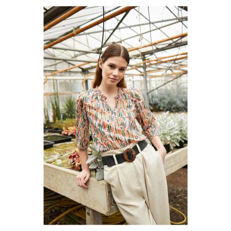 Bawełniana bluzka ze wzorem Orsay