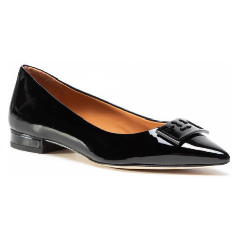 Tory Burch Półbuty Gigi 20Mm Pointy Toe Flat Patent Leather 79514 Czarny