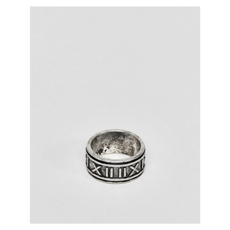 ASOS DESIGN ring with roman numerals in burnished silver tone