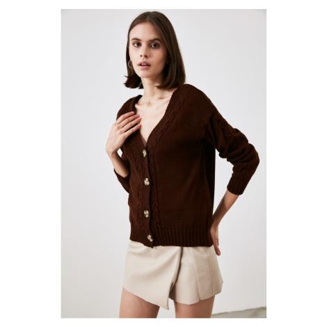 Trendyol Brown Knitted Knitwear Cardigan