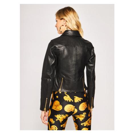 Versace Jeans Couture Kurtka skórzana ECHVA90P Czarny Slim Fit