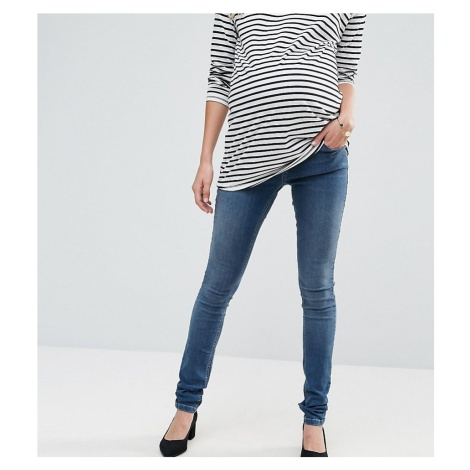 ASOS DESIGN Maternity Tall Ridley skinny jeansin mid wash with over the bump waistband