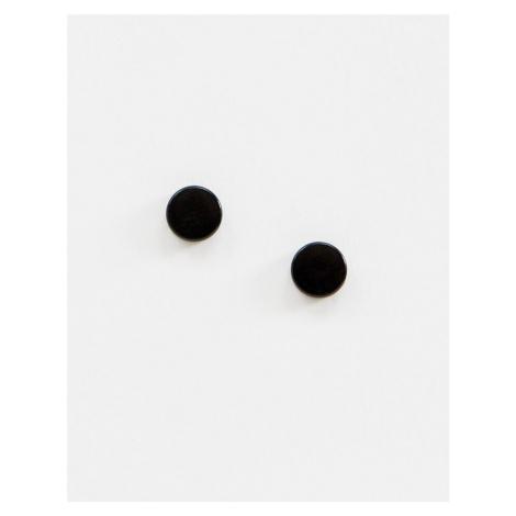 ASOS DESIGN slim plug earrings in black