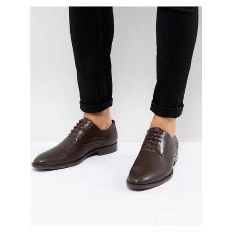 ASOS Oxford Shoes In Brown Faux Leather With Emboss Detail
