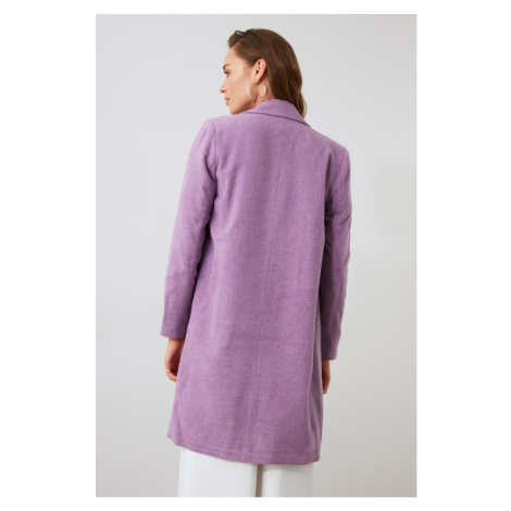 Trendyol Lila Button Off Woolly Stamp Coat