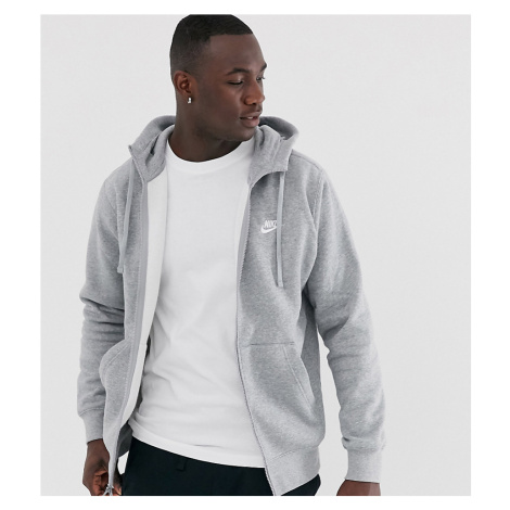 Nike Tall zip up hoodie with futura logo in grey