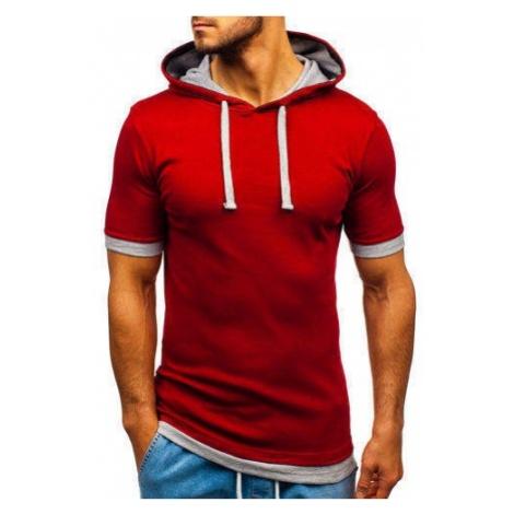 T-shirt męski z kapturem bordowa Bolf 08-1