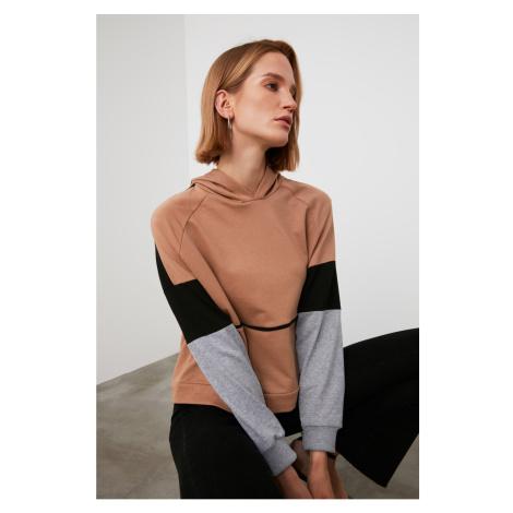 Trendyol Camel Hooded Color Block Knitted Sweatshirt