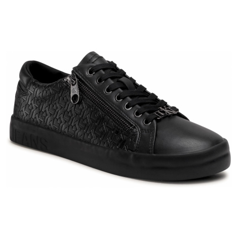 Sneakersy CALVIN KLEIN JEANS - Vulcanized Laceup Zip Pu-Ny YM0YM00078 Full Black BEH