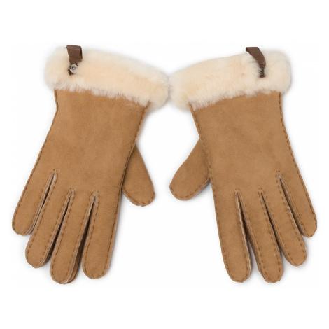 Rękawiczki UGG - W Shorty Glove W Leather Trim 17367 Chestnut
