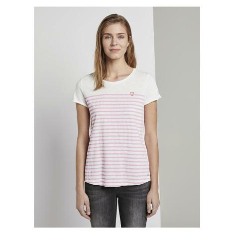 TOM TAILOR DENIM Koszulka różowy pudrowy / kremowy