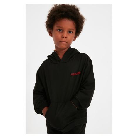 Trendyol Black Haftowana Bluza z Kapturem Boy Knitted Sweatshirt