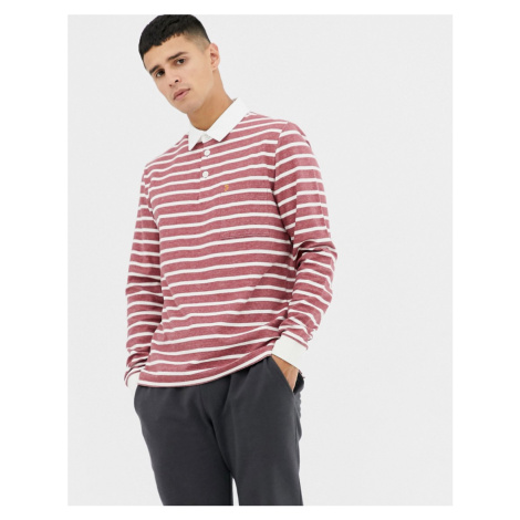 Farah Temple stripe rugby shirt in red
