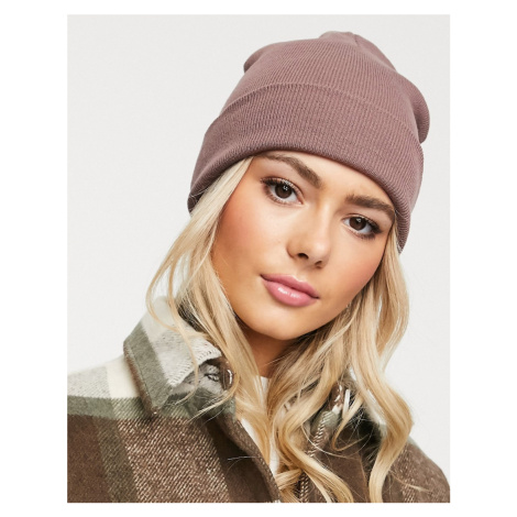 ASOS DESIGN turn up beanie in recycled polyester in pink