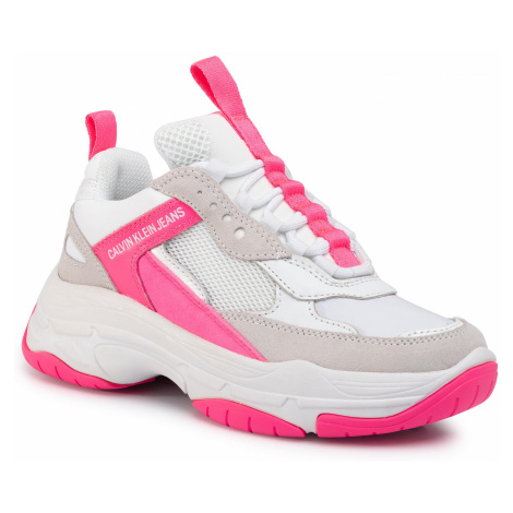 Sneakersy CALVIN KLEIN JEANS - Maya R0802 White/Pink Fluo