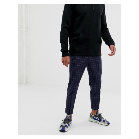 ASOS DESIGN tapered smart trouser in navy and white windowpane check
