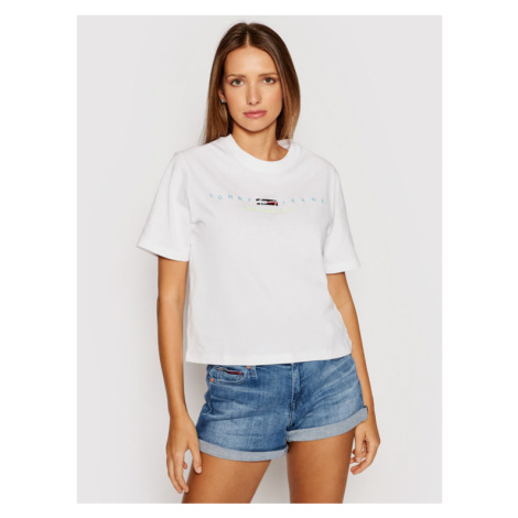 Tommy Jeans T-Shirt Modern Logo DW0DW09923 Biały Regular Fit Tommy Hilfiger