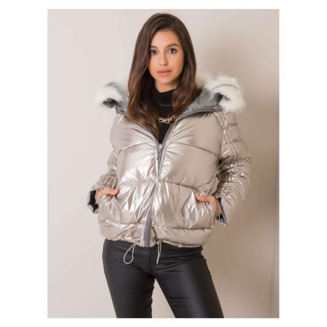Dwustronna srebrno-beżowa kurtka zimowa z futrem