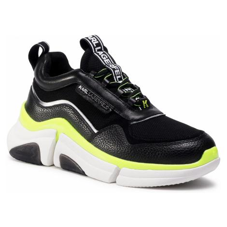 Sneakersy KARL LAGERFELD - KL51728 Black Lth/Text W/Yellow