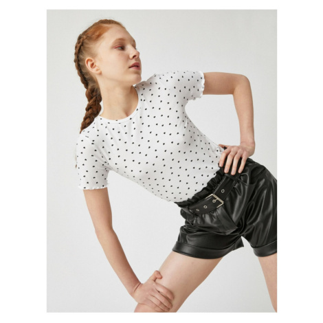 Koton Damski t-shirt z krótkim rękawem z prążkowanym rękawem z damski wzór