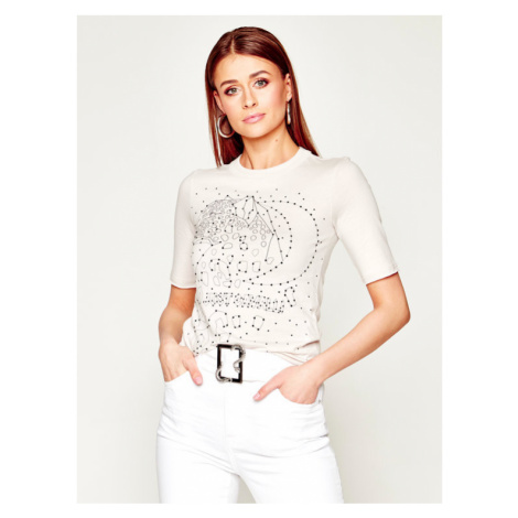 Just Cavalli T-Shirt S02GC0385 Beżowy Slim Fit
