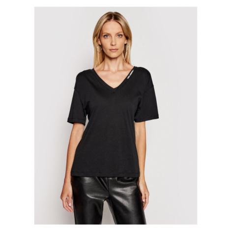 KARL LAGERFELD T-Shirt Double V Neck 211W1701 Czarny Regular Fit