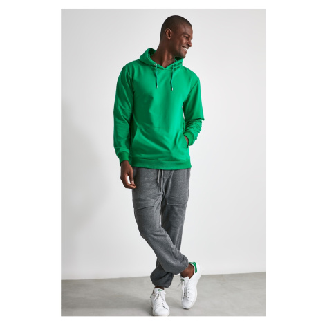Trendyol New Long Sleeve Sweatshirt With Emerald Green Men's Hoodie Kangaroo Pocket