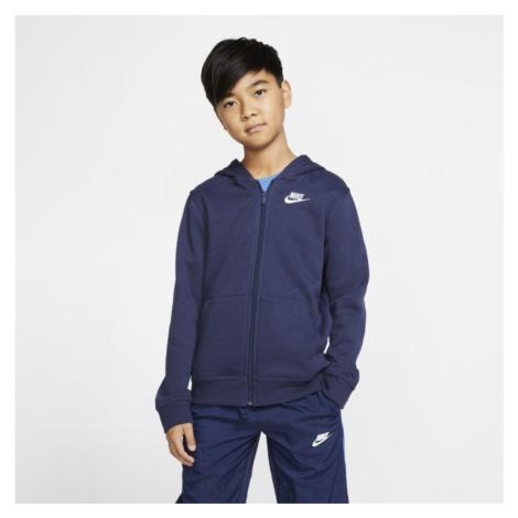 Bluza z kapturem i zamkiem na całej długości dla dużych dzieci Nike Sportswear Club - Niebieski