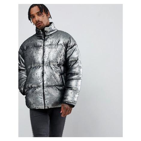 ASOS DESIGN oversized sequin puffer jacket in silver
