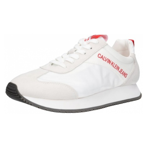 Calvin Klein Jeans Trampki niskie 'Jill' camel / czerwony / biały