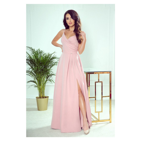 299-2 CHIARA elegancka maxi suknia na ramiączkach - PUDROWY RÓŻ NUMOCO
