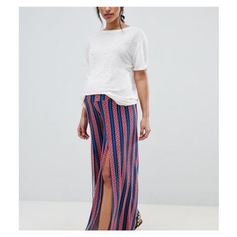 ASOS DESIGN Maternity over the bump wide leg trousers with split front in aztec stripe print