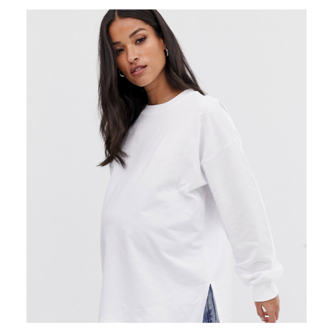 ASOS DESIGN Maternity super oversized lightweight sweat with side splits in white