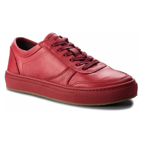 Sneakersy TOMMY HILFIGER - Pebbled Leather Low FM0FM01684 Scooter Red 614
