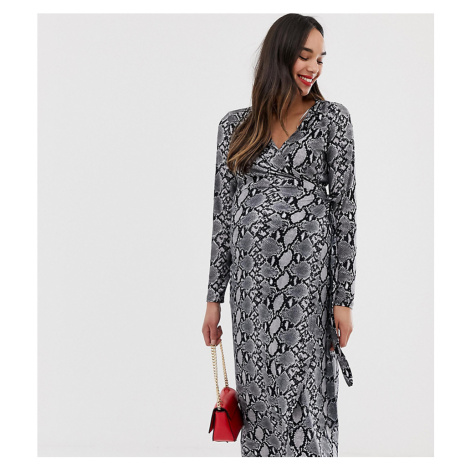 New Look Maternity wrap long sleeve midi dress in snake print