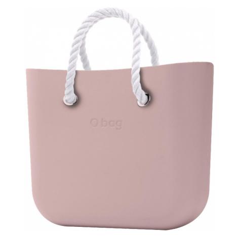 O bag torebka MINI Smoke Pink z krótkimi białymi linami