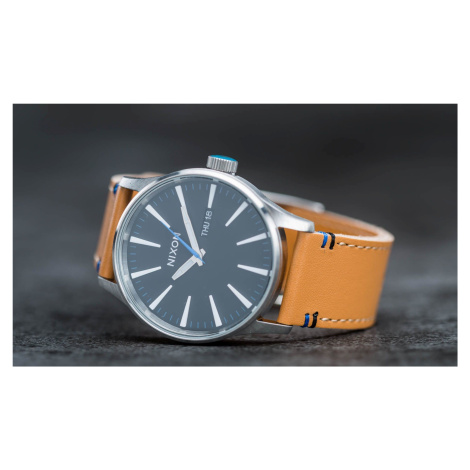 Nixon Sentry Leather Watch Natural/ Black