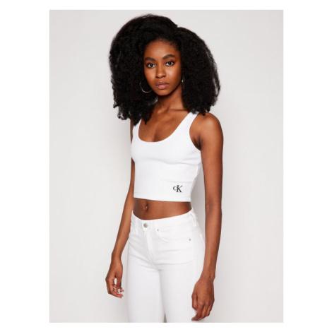 Calvin Klein Jeans Top J20J215703 Biały Regular Fit