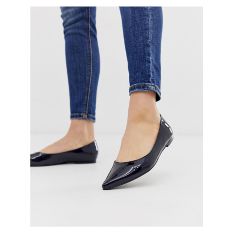 ASOS DESIGN Latch pointed ballet flats in navy