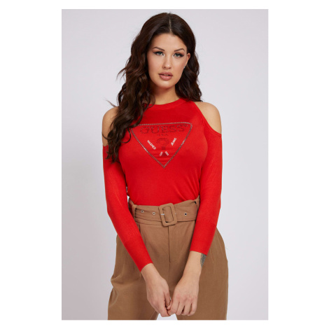 Guess czerwony sweter Cut-Out Sleeves Triangle Logo