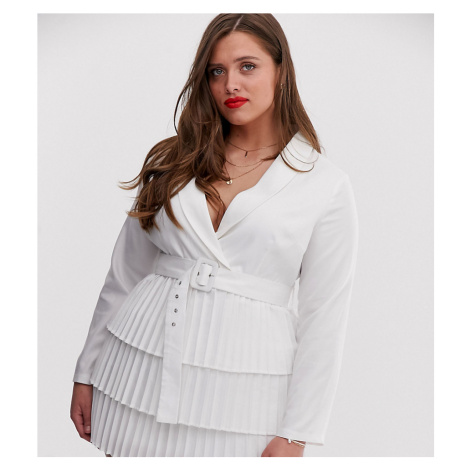 In The Style Plus x Dani Dyer plunge front blazer dress with pleated skirt in white