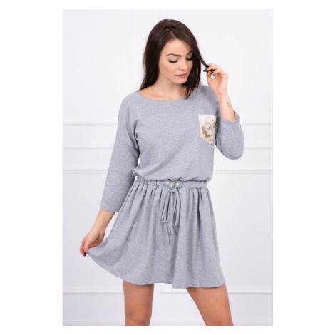 Sukienka wiązana w talii z cekinową kieszenią szarą S/M-L/XL
