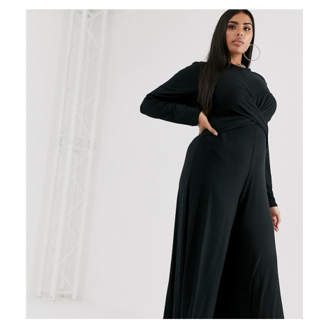 PrettyLittleThing Plus culotte jumpsuit with twist front in black