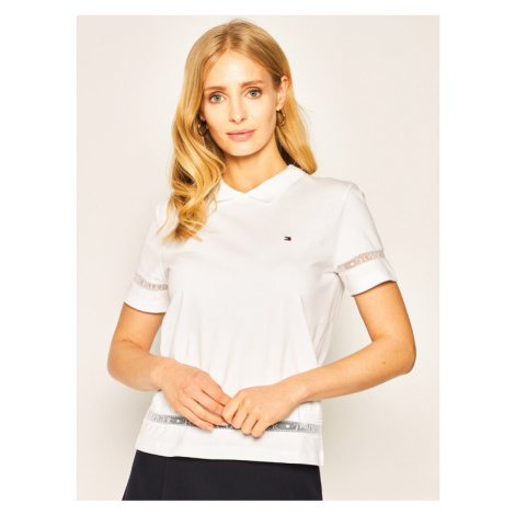 TOMMY HILFIGER Polo Cool Vera WW0WW27156 Biały Relaxed Fit