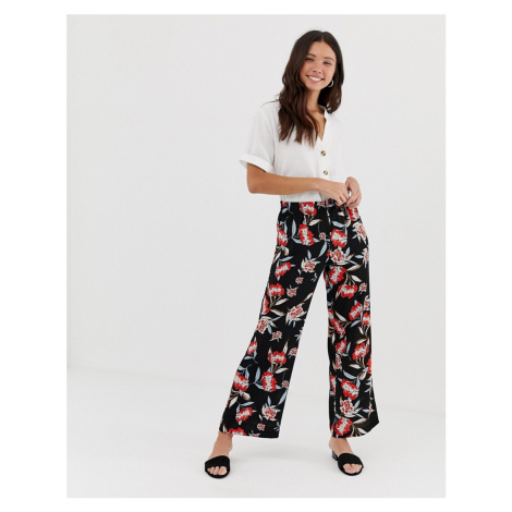 JDY Trick floral print wide leg trousers