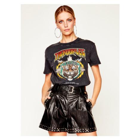 The Kooples T-Shirt Jersay Print FTSC20006K Czarny Regular Fit
