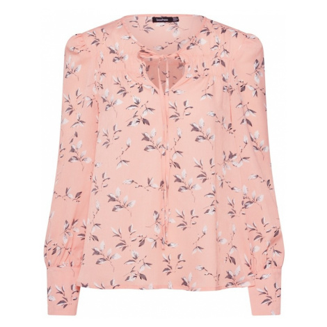 Boohoo Bluzka 'Floral Tie Neck Top' różowy pudrowy / biały