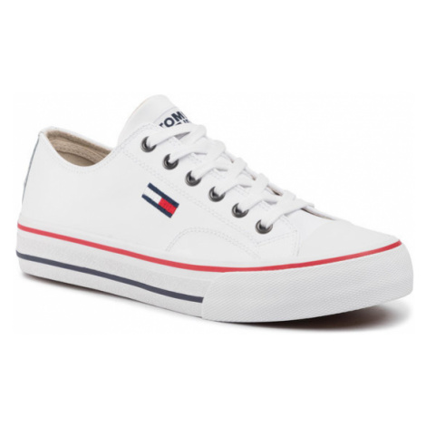 Tommy Jeans Trampki Leather City Sneaker EM0EM00394 Biały