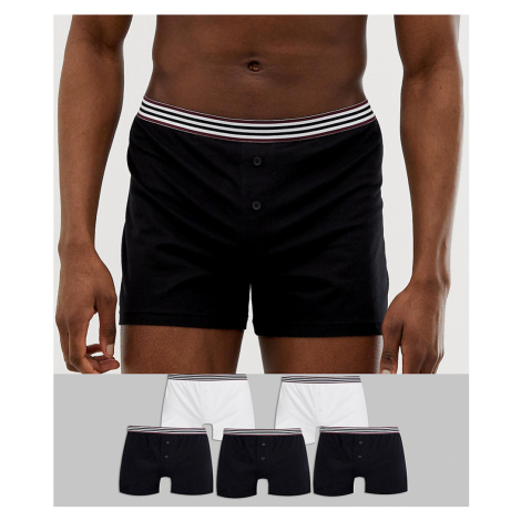 ASOS DESIGN 5 pack jersey boxers in black & white with stripe waistband save